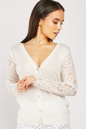 Lace Sleeve Knit Cardigan