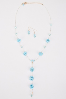 Lariat Beaded Necklace And Earrings Set