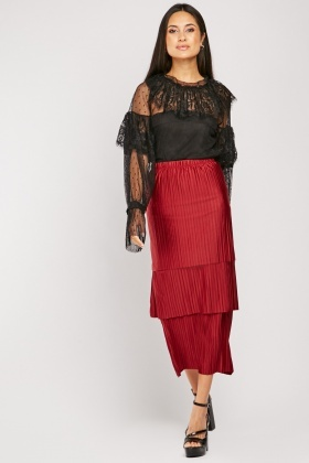 Pleated Tiered Midi Skirt