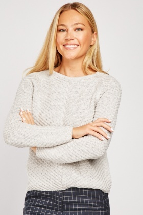 Textured Contrast Knit Jumper