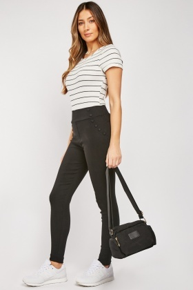 Button Trim Skinny Treggings