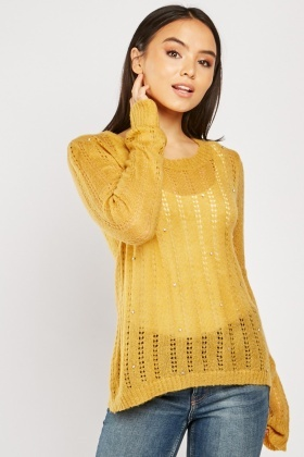 Encrusted Laddered Knit Jumper