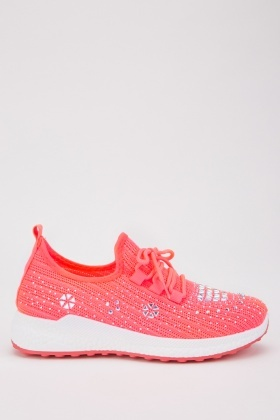 Encrusted Low Top Knit Trainers