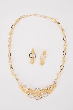 Encrusted Necklace And Drop Earrings Set