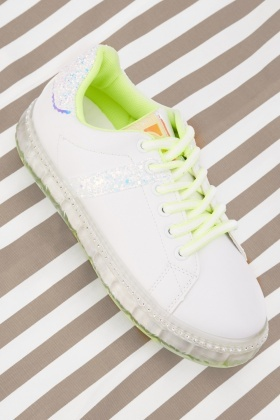 Lace Up Glitter Detail Trainers