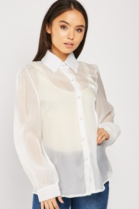 Long Sleeve Organza Shirt