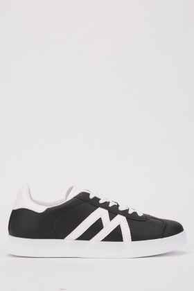 Monochrome Lace Up Trainers