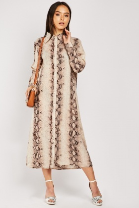 Python Skin Print Shirt Dress
