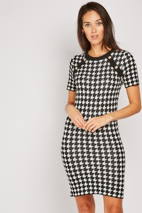 Button Trim Houndstooth Knit Dress