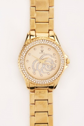 Encrusted Flower Motif Watch