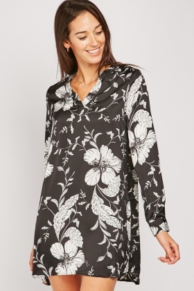 Floral Print Silky Tunic Dress