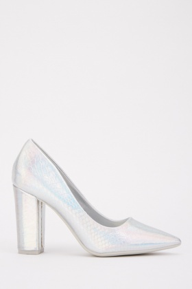 Iridescent Mock Croc Court Heels