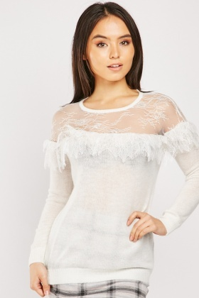 Lace Ruffle Trim Knit Jumper
