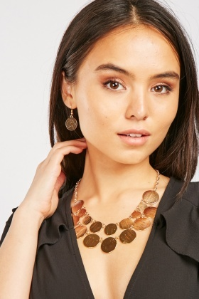 Layered Cricle Necklace And Drop Earrings Set
