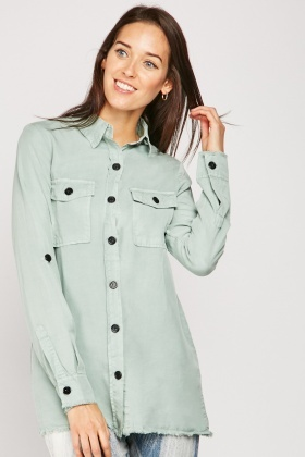 Pocket Flap Front Raw Hem Shirt