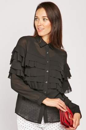 Ruffle Tiered Sheer Shirt