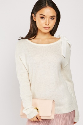 Lace Up Ribbon Knit Jumper