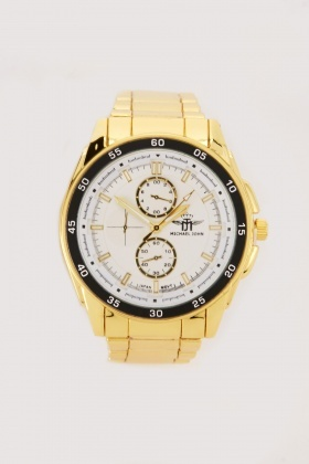 Men's Analogue Gold Strap Watch