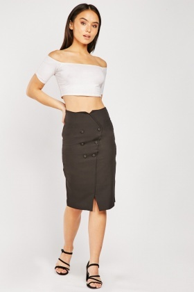 Double Breasted Midi Skirt