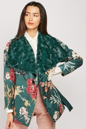 Floral Print Waterfall Jacket