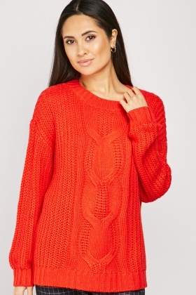 Herringbone Cable Knit Jumper