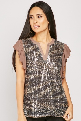 Sequin Embellished Ruffle Trim Top