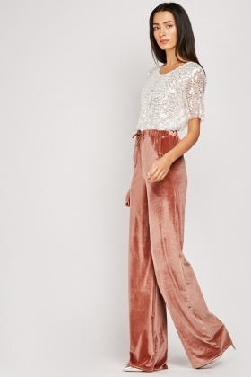 Wide Leg Plush Velveteen Trousers