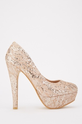 Mesh Sequin High Heels
