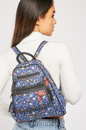 Vintage Floral Print Backpack