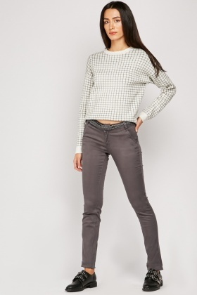 Skinny Belted Trousers