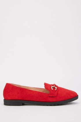 Detail Front Suedette Loafers