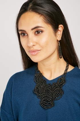 Heavily Beaded Necklace And Earrings Set