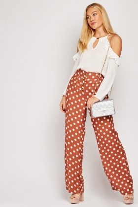 Polka Dot High Waisted Trousers