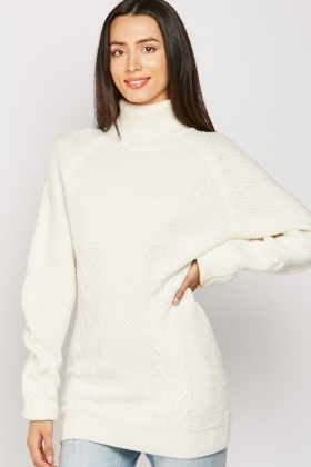 Roll Neck Textured Knit Jumper