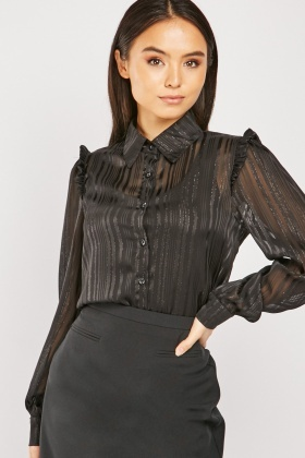 Stripled Metallic Thread Panel Shirt