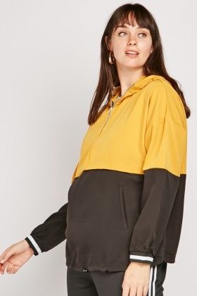 Colour Block Casual Hooded Jacket