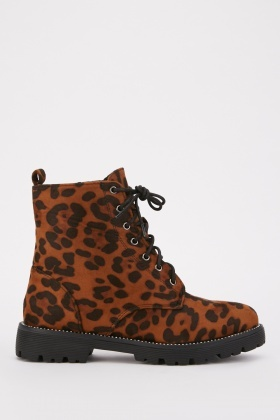 Leopard Suedette Ankle Boots $7.00