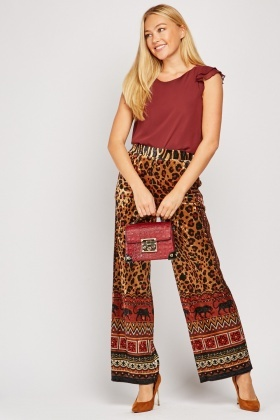 Tribal Print Crushed Velveteen Trousers