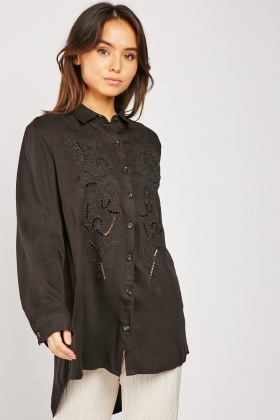 Embroidered Laser Cut Black Shirt