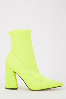 Textured Neon Ankle Boots