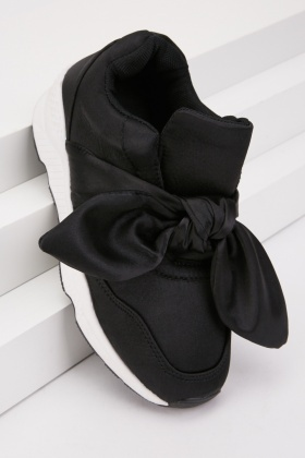 Chunky Ribbon Bow Sateen Trainers $6.70