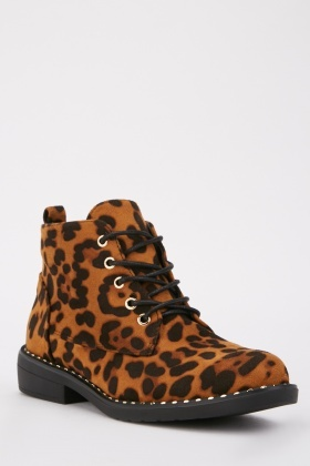 Leopard Suedette Lace Up Boots $6.70