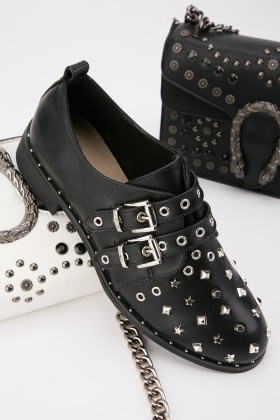Studded Twin Buckle Shoes