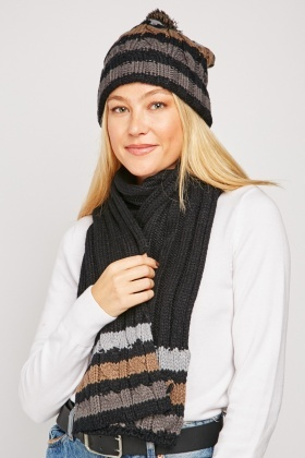 Chunky Knit Scarf And Beanie Hat Set $6.70