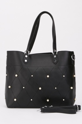 Diamond Pattern Faux Pearl Embellished Bag $6.70