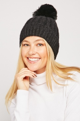 Pom Pom Trim Knit Hat