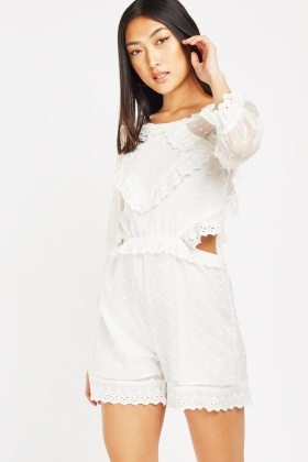 Broderie Anglaise Sheer Playsuit