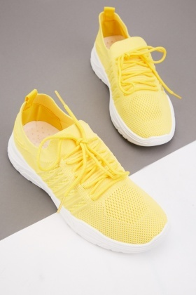 Lace Up Knitted Low Trainers