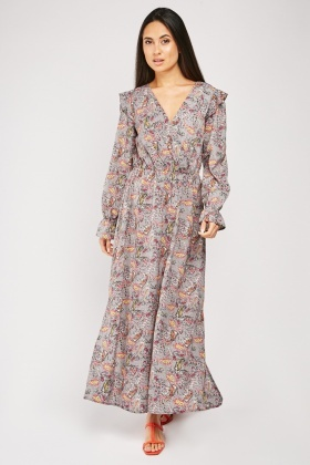 Scattered Paisley Print Maxi Dress