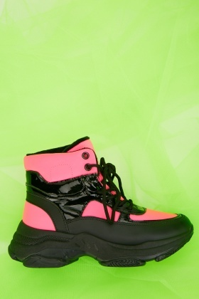 Chunky High Top Neon Trainers